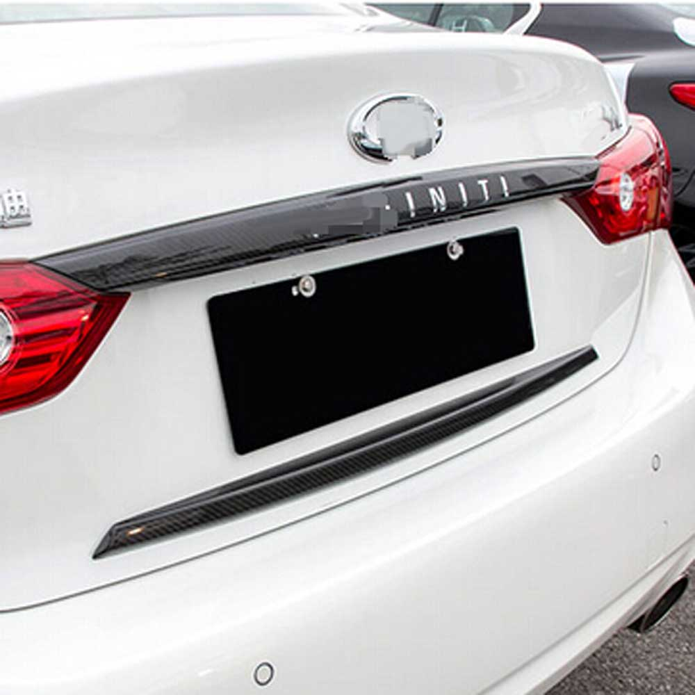 Exterior Accessories for infiniti Q50 Q50L trunk cover rear door carbon fiber decorative protective cover stikcer frame montford carbon fiber exterior rear