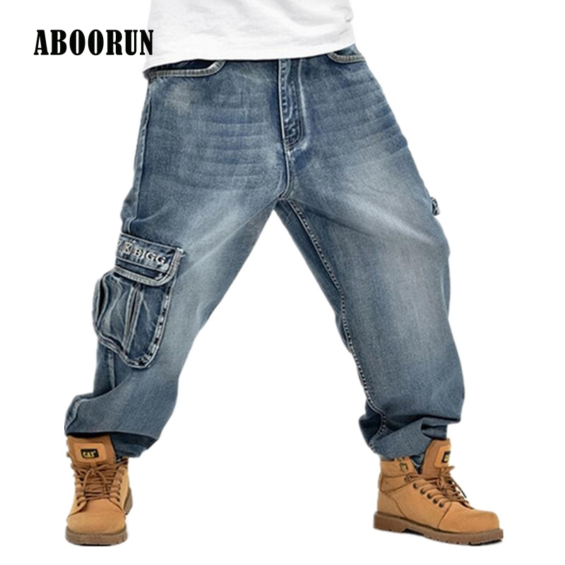 все цены на  ABOORUN 2016 Hip Hop Mens Baggy Jeans Cargo Jeans with Multi Pockets P3071  онлайн