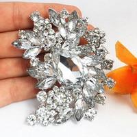 Luxury Bridal Dress Big Drop Crystal Sparkling Diamante Brooches Bridesmaid Pins