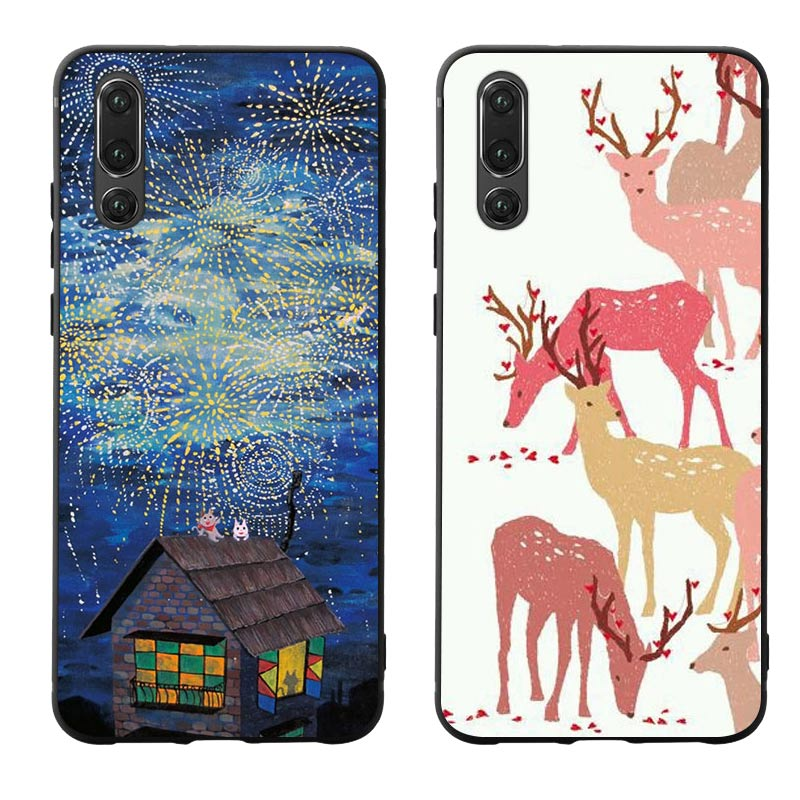 Cartoon Deer Cat Phone Cases Cover for Huawei P30 lite pro nova 3i Mate 20 Case P smart 2019 Soft