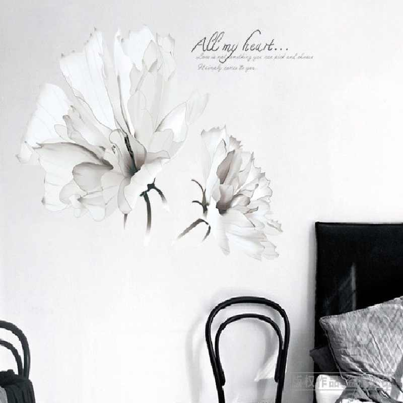 Изящная белая Цветочная Наклейка на стену для спальни Diy оконная дверь растение комнатный Декор плоское панно Pastrol съемные Diy обои