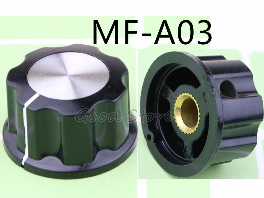 10PCS MF-A03 A03 Potentiometer Knob Bakelite Knob Potentiometer Knob Aluminum Cap Bakelite Supporting WTH118 Use Potentiometer