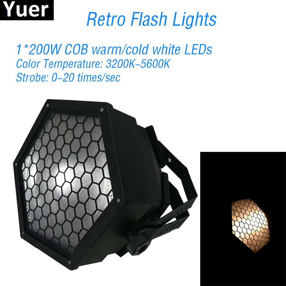 Nouveau 200W COB LED chaud/froid blanc rétro Flash lumières DMX512 LED DJ Disco stroboscope lumière mariage fête Club Bar scène stroboscope lumière