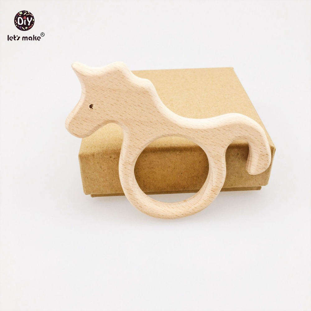 Lets make Beech Wooden Teether 10pc Unicorn Timber Baby Biter Wood Teething Big Horse Teether