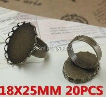 Diy ювелирных аксессуаров 20 шт. латунные кольца настройки античная бронзовая 18 x 25 мм кружева кольца лоток камея основы установка