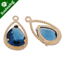 11.5x20mm matt gold plated framed glass,Faceted glass,montana,connectors,gemstone bezel,Sold 5pcs/lot-C4159