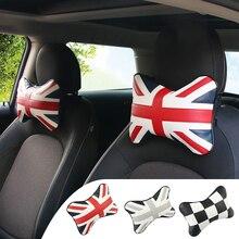 2 pcs Cabeça Pescoço Rest Almofada Encosto de Cabeça Do Assento de Carro PU Almofada Travesseiro para BMW Mini Cobre Um JCW S F55 f56 R52 R54 R60 R55 R56