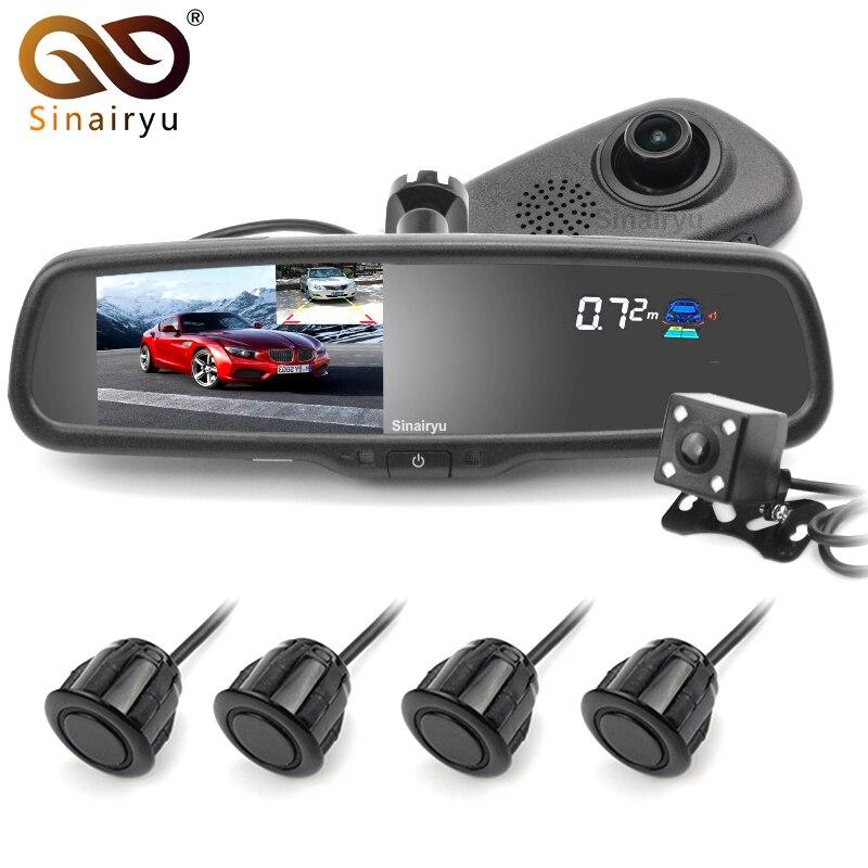 D'origine Support Voiture Dvr Détecteur Caméra Examen Miroir DVR Enregistreur Vidéo Caméscope Dash Cam FHD 1080 P Avec 4 Parking capteur