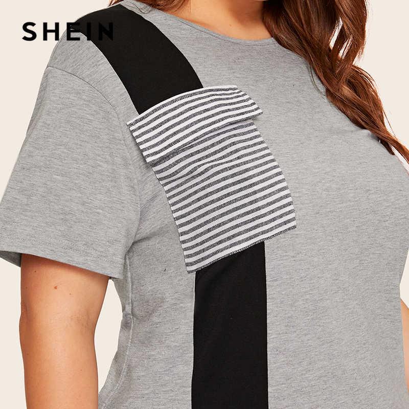 SHEIN Абаи плюс Размеры Colorblock (цветовой блок), в полоску, боковым карманом Разделение сбоку длинное платье Для женщин летние 2019 туника с коротким рукавом Повседневное платья