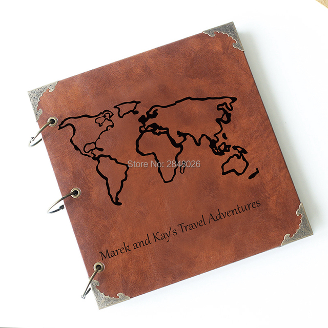 Aliexpress  Buy Custom Wedding Travel map Leather Guest Book