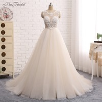 New Amazing Long Wedding Dress 2018 Scoop Sleeveless Chapel Train A Line Appliques Tulle Backless China Bridal Gowns Vestidos