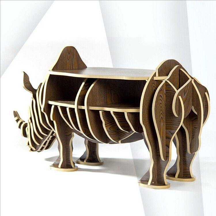 1 ensemble 47*19 pouces MDF bricolage assembler en bois rhinocéros Table bibliothèque armoire maison meubles - 5