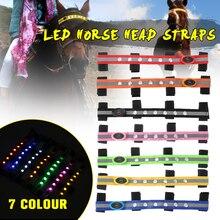 Para Caballo entrenador jinete LED caballo cabeza correas noche Visible equitación Multi-color opcional caballo accesorio