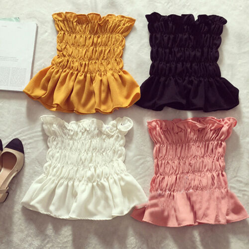 Hirigin Women Casual Summer Sleeveless Tube Tops Solid Ruffles Flod Off Shoulder Crop Tops