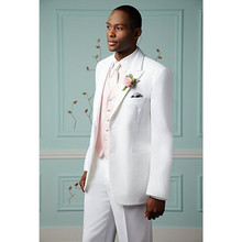 white wedding tuxedos for men suit 3 piece suits tailor 2017 fashion groom wear prom dress