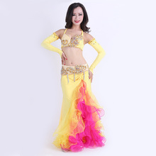 Belly Dance Costume High Grade Performance Egyptian Belly Dancing Oriental Dance Outfits Set 4pcs top+skirt+belt+Sleeves 2018 performance belly dancing egyptian costumes oriental dace bra belt skirt belly dance 3pcs costume set