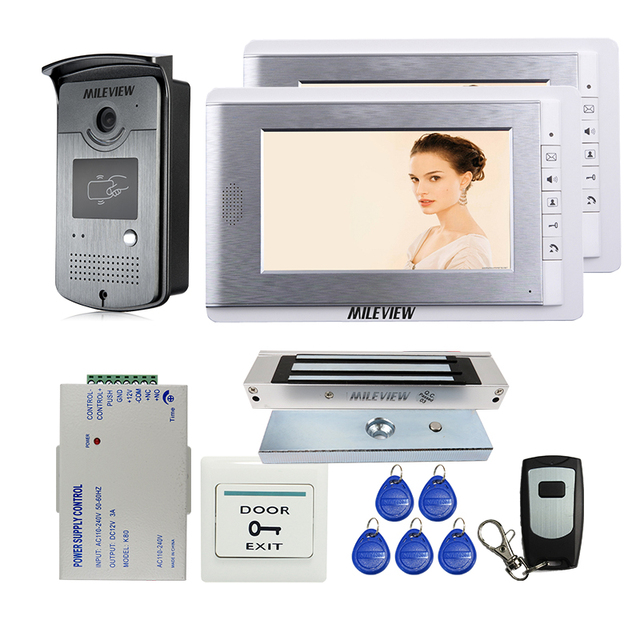 Mileview Wired 7 Video Door Phone Intercom Entry Kit 2 Monitors