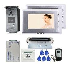 """Wired 7 """"telefone video da porta intercom entrada kit + 2 monitores 1 rfid câmera de acesso elétrica fechadura magnética frete grátis"""
