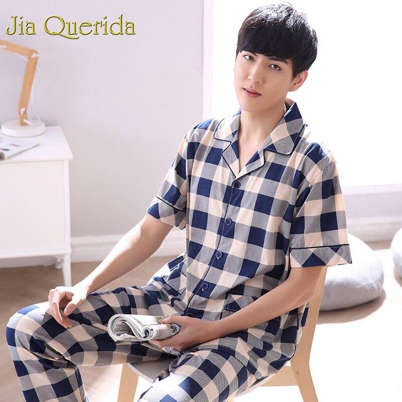 Male Sleepwear Pyjamas-Set 100%Cotton Clothing Men Home Plaid Lapel Plus-Size