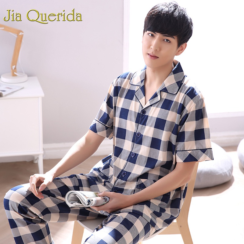 J&Q Pajamas Men 2019 Pijama Hombre Plus Size Mens Pajamas Plaid Lapel Male Sleepwear 100% Cotton Men Home Clothing Pyjamas Set