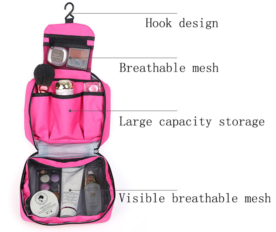 Hanging Travel Cosmetic Bag Women Zipper Make Up Bags Polyester High Capacity Makeup Case handbag Organizer Storage Wash Bag     (4)