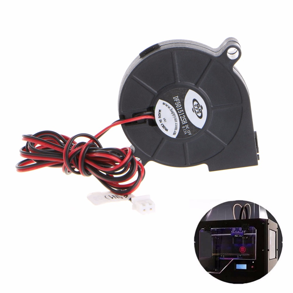 1Pc 12V DC 50mm Blow Radial Cooling Fan Hotend Extruder For RepRap 3D Printer 3d pinter fan 1pcs dc 12v 5015 cooling fan hotend extruder for reprap 3d printer parts 50mm blower radial cooling fan
