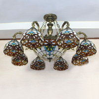 European Vintage Glass Pendant Light Artistic Tiffany Cafe Lamp Living Room Pendant Light Flowers Shape Dia 100cm 11 Lights