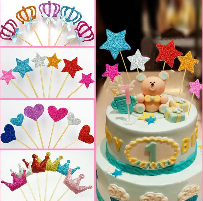 shiny heart star <font><b>crown</b></font> cake toppers paper cards banner for Cupcake Wrapper Baking <font><b>Cup</b></font> wedding birthday tea party decoration