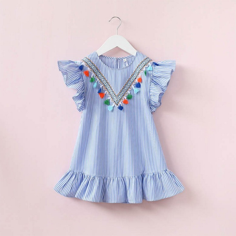 HTB1Ol4sQcfpK1RjSZFOq6y6nFXaP Newborn Baby Girl Family Matching Clothes Mom And Daughter Dress Nine Quarter Stripe Tassel Mini Mother And Daughter Outfits
