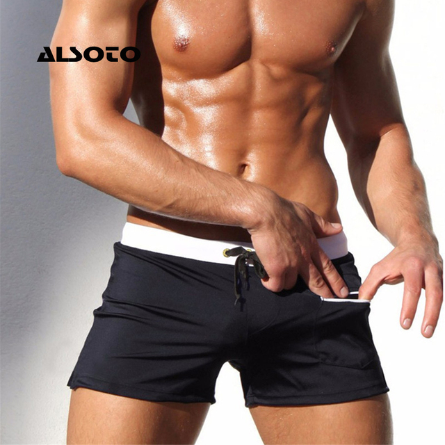 ALSOTO Brand Men Swimwear Swimsuits Swimming Boxer Shorts Trunks Pocket Mens Swim Boxers Beach Surf Board Shorts Bathing Suit
