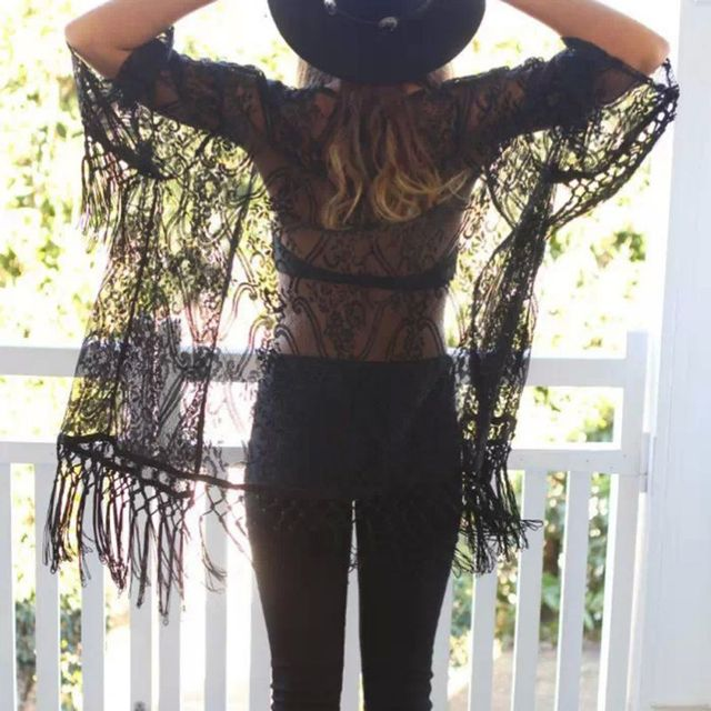 Women's Lace Long Sleeve Summer Beach Cover Up Cardigan Cape Tops