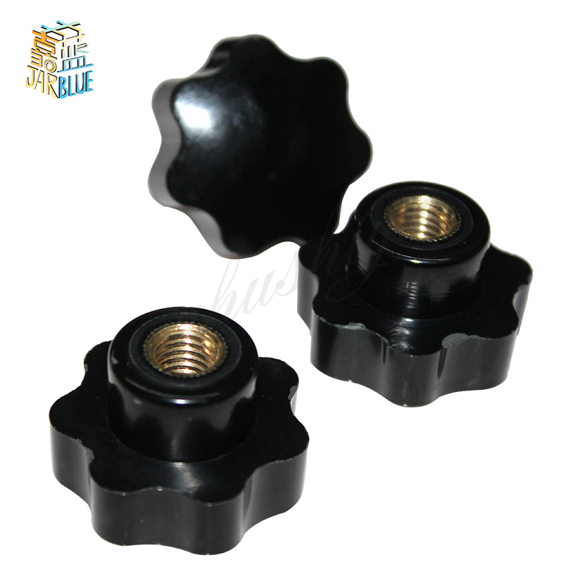 5Pcs M6 Female Thread Star Shaped Head Clamping Nuts Knob For Industry Equipment 5pcs m6 x 40mm female thread clamping knobs 6mm thread 40mm head dia 7 star shaped through hole clamping nuts knob