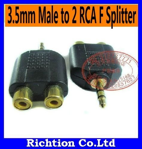 Free shipping RCA Adaptor+10PCS/LOT! 3.5mm Male to 2 RCA Female Splitter Audio Adapter,1 Male to 2 Female