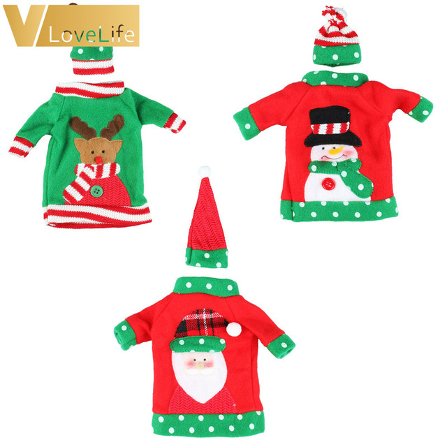 3sets Christmas Decoration Red Wine Bottle Cover Set Office Ugly