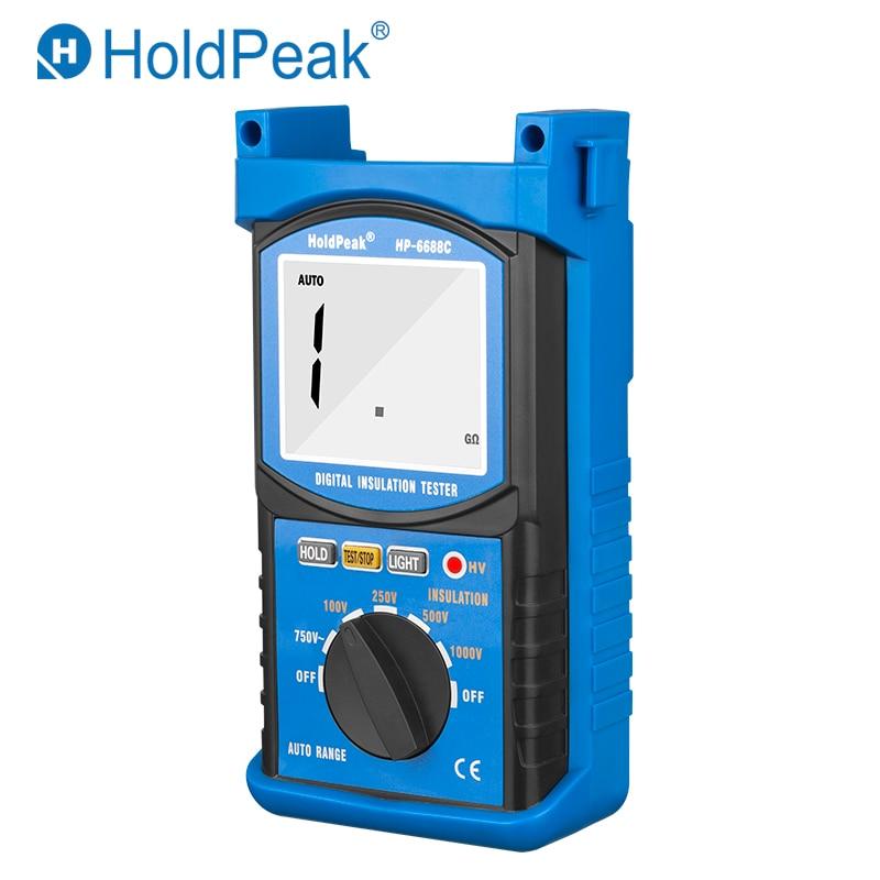 HoldPeak HP-6688C 1000V Digital Insulation Resistance Tester Auto Range Portable Outdoor Dustproof&Dampproof Test Ohm Multimeter holdpeak hp 760g 1000volt