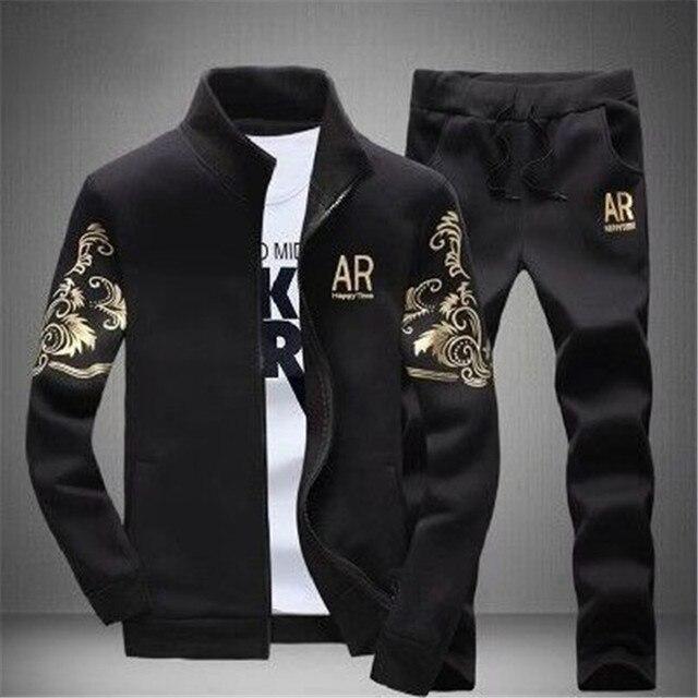 05e4f866751d5 Hombres 2019 marca ropa deportiva hombre 2 piezas Collar de la chaqueta con  capucha de lana