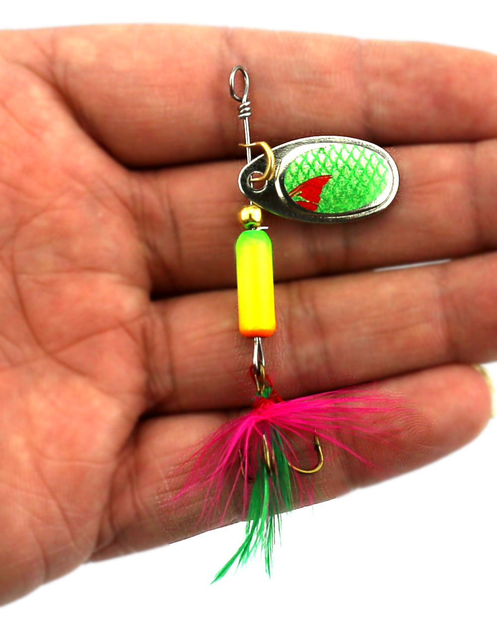 50pcs Fishing Lure Metal Spoon Spinnerbait With Feather Hook 6.3CM-3.5G