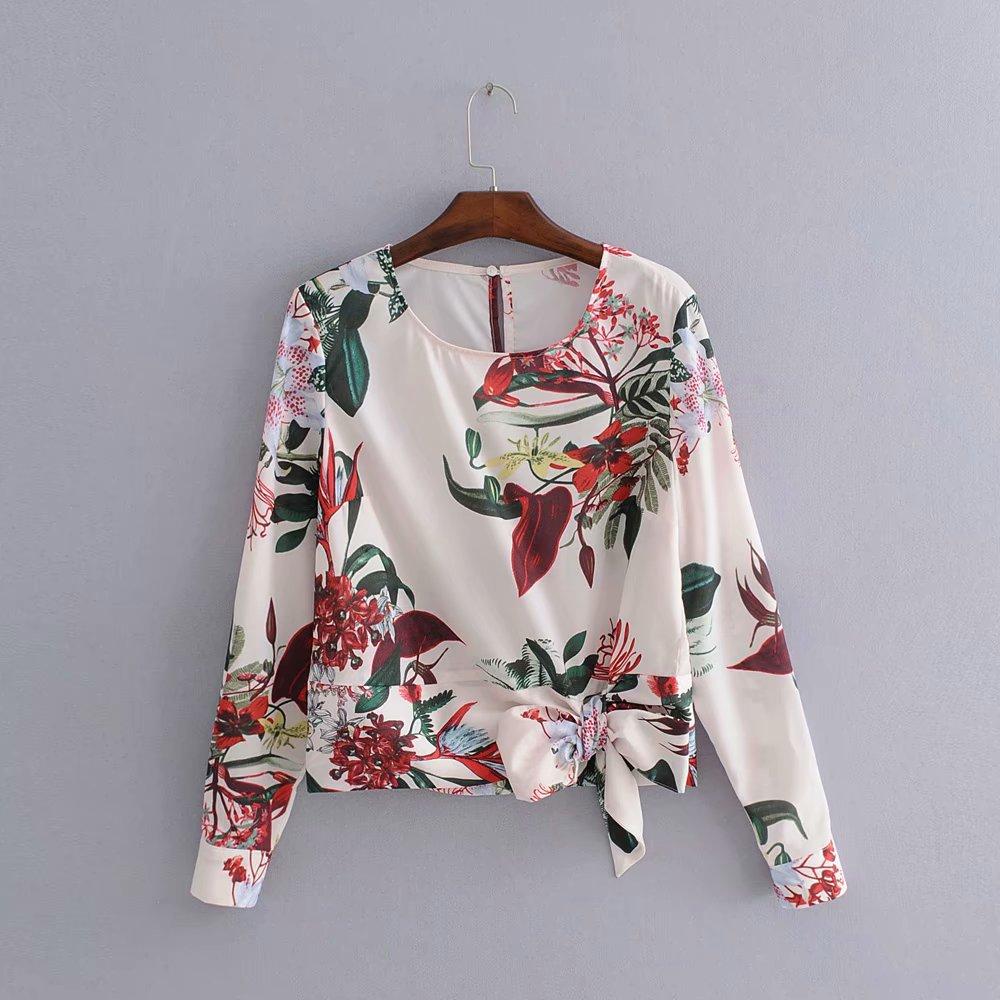 2018 women elegant o neck long sleeve hem bowknot print brand   blouses     shirt   female chic femininas blusas casual slim tops