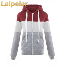 Color Block Patchwork Hoodies 2018 Spring Autumn Casual Hooded Coat Women Zipper Sweatshirt Tracksuits Top