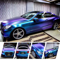 Top trend! Magic Diamond Chameleon Paars naar Blauw Vinyl Auto Wrap voor Full Body Styling