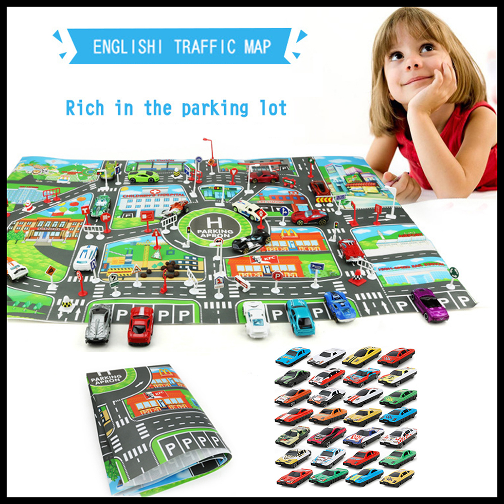 10 Pcs Car Model Toys and English Version 83*58CM City PARKING LOT Roadmap DIY Climbing Mats Kids Educational Toys Gift for Boys