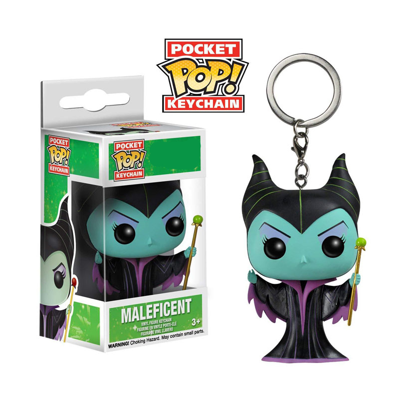 FUNKO POP Pocket Pop Keychain Official Descendants Cute Maleficent Vinyl Action Figures Keyring Toys For Children Gift With Box