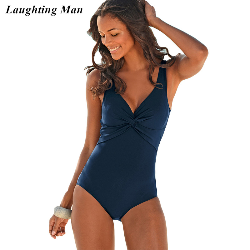 Laughting Man 2017 New Deep V Backless One Piece Solid Sexy Plus Size Swimwear Women Swiming Suit Beach Bathing Suits Monokini one piece swimsuit cheap sexy bathing suits may beach girls plus size swimwear 2017 new korean shiny lace halter badpakken