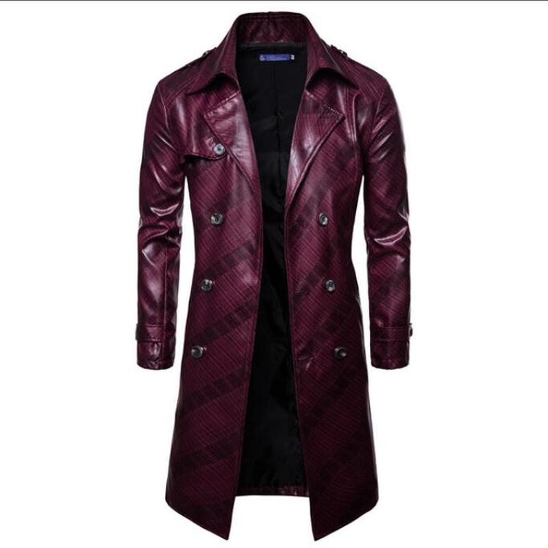 Men Trench Coat Homme  Mens New Fashion Long PU leather Trench Coat Autumn Long Jacket For Men Slim Fit Winter Warm Coat Mens 4
