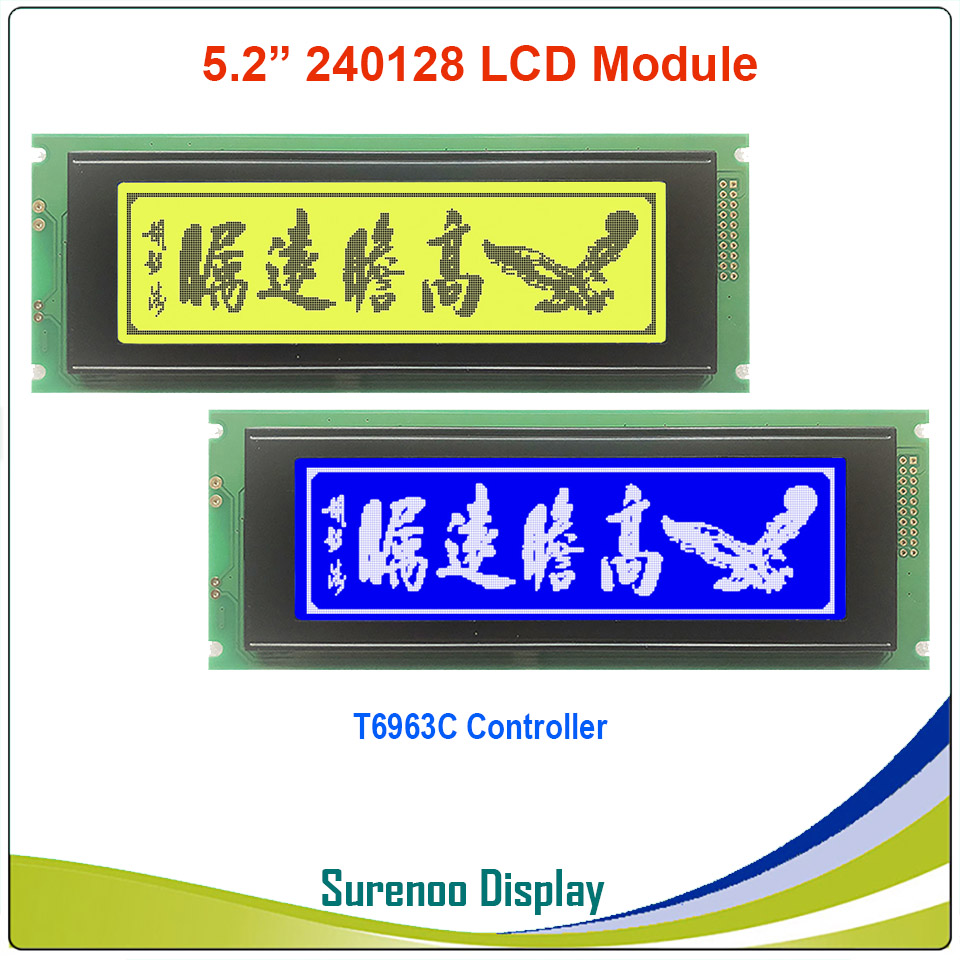 24064 240*64 Graphic Matrix LCD Module Display Screen Build-in T6963C Controller Yellow Green Blue With Backlight