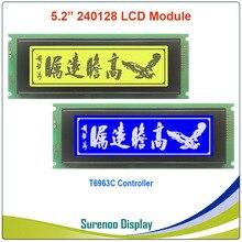 24064 240*64 גרפי מטריקס LCD מודול תצוגת מסך הצטברות T6963C בקר צהוב ירוק כחול עם תאורה אחורית