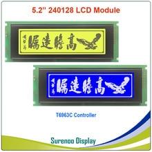 24064 240*64 matriz gráfica lcd módulo display tela build in t6963c controlador amarelo verde azul com luz de fundo