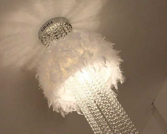 Feather white pendant lights romant bedroom living room lights crystal lamp k9 crystal feather Children's room pendant lamps ZA white crystal pendants chandeliers lights vintage pendant lamp for living room bedroom europe style pendant lamps home lighting