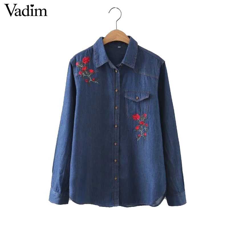 Women flower embroidery denim long shirts rose pattern