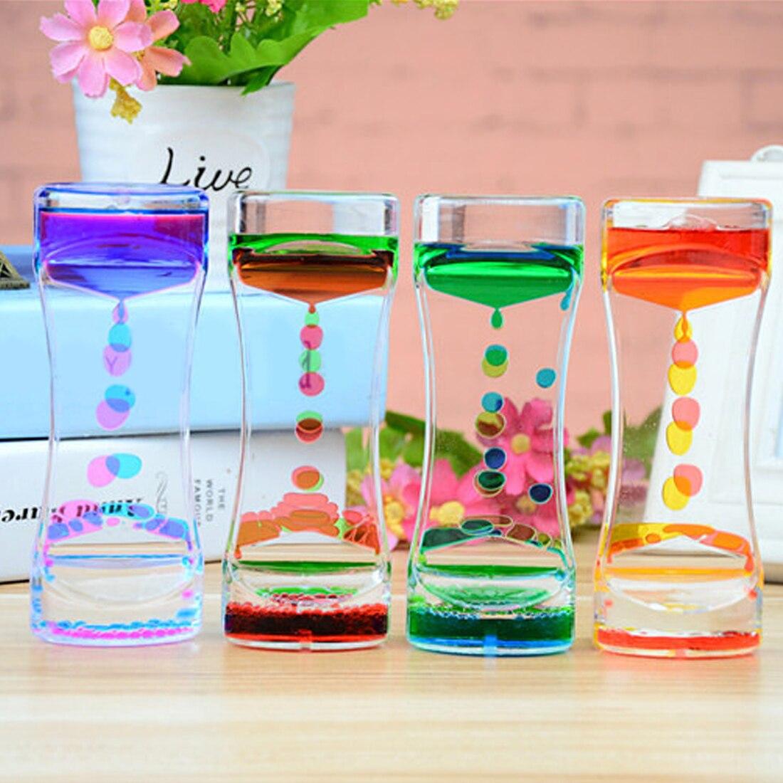 Floating Color Mix Illusion Timer Liquid Motion Visual Slim liquid Oil Glass Acrylic Hourglass Timer Clock Ornament Desk